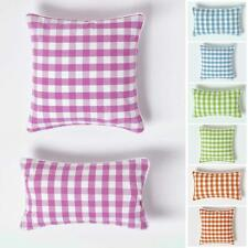 Cotton Check Large Filled Sofa Cushion Covers Decorative Scatter Cushion Pads