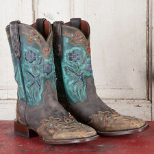 Women's Dan Post Vintage Bluebird Copper/Turquoise Sq Toe Leather Boots DP2914