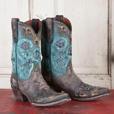Women's Dan Post Vintage Bluebird Chocolate/Teal Leather Snip Toe Boots DP3544