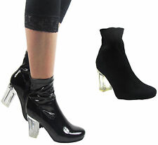 NEW LADIES PERSPEX CLEAR BLOCK HIGH HEEL ANKLE FASHION PATENT SHOES BOOT SIZE3-7