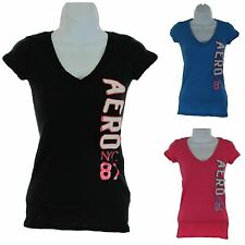 Aeropostale Women Juniors Short Sleeve Graphic Tee Black, Blue or Pink New w Tag
