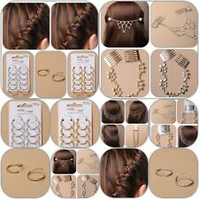 Hair Chains For Wedding Prom Bridal Silver Gold Crystal Tone on Grips or Combs