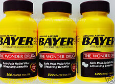 Bayer Aspirin NSAID 325 mg., 500 1000 1500 Coated Tablets Pain Fever Reliever