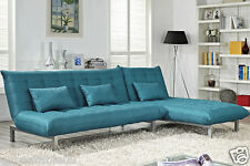 Fabric Sofa Bed Sofabed Chaise Lounge Cushioned Charcoal or Teal Living New