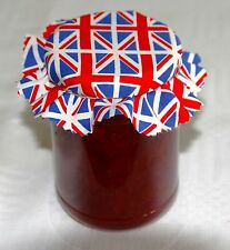 UNION JACK JAM JAR FABRIC POT COVERS ~ PINKED or SCALLOP EDGES+LABELS+BANDS