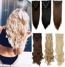 Real Quality Clip in on Full Head 8 piece Hair Extension 18 clips Pale Blonde