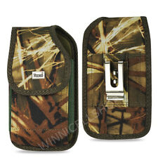 OEM REIKO Camouflage Vertical Rugged Canvas Belt Clip Case Pouch for BLU Phones