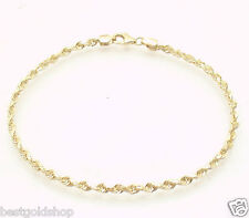 2.8mm Solid Unisex Diamond Cut Rope Chain Bracelet Real 14K Yellow Gold