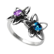 925 Sterling Silver Purple & Teal 0.5 Carat CZ Flower Ring Size 6-9