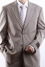 MENS TWO BUTTON TAN TONAL STRIPE DRESS SUIT, PL-65712N-TAN