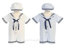 New Baby Boys Seersucker Cotton Sailor Nautical Romper Outfit 2 Pc Set Hat G255
