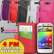 LEATHER WALLET CASE COVER,SCREEN GUARD & STYLUS FOR HTC SENSATION XL