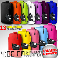 LEATHER PULL TAB POUCH CASE COVER & MAINS CHARGER FOR VARIOUS ZTE MOBILES