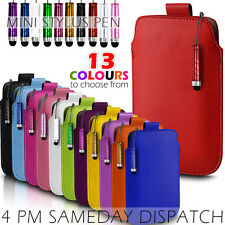 LEATHER PULL TAB SKIN CASE COVER POUCH + MINI STYLUS FOR VARIOUS HP PHONES