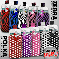 LEATHER POLKA & ZEBRA PULL TAB CASE POUCH+EARPHONE FOR VARIOUS T-MOBILE PHONE
