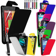 Premium PU Leather Flip Case Cover, Film & Retractable Pen For Various Handsets