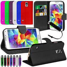 Leather Flip Wallet Book Case Cover For SAMSUNG Galaxy S5 Screen Protector