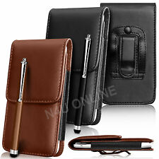 PU Leather Pouch Belt Holster Skin Case Cover & Stylus For Various Mobile Phones