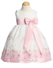 New Baby Kids Flower Girl Pink Organza Dress Easter Wedding Birthday Party M558