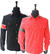 MJ Michael Jackson Black &Red CTE Corduroy Outwear anti-war England Shirt Jacket