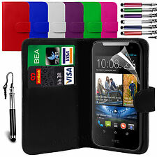 PU Leather Flip Wallet Case Cover, LCD Film & Stylus Pen For HTC Desire 310