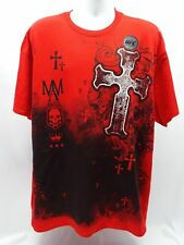 NEW- CROSS & SKULL MMA ELITE FIGHT FASHION RED T-SHIRT (2XL) NEW! 7553