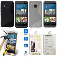 HTC One M9 Case Cover Gel TPU Rubber Silicone Case Cover + Tempered Glass