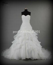 New Fashion A-Line Wedding Dress White/Ivory Organza Bridal Gown Size6+8+12+16++