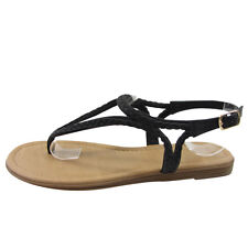 Beston Women's Braided Buckle Strappy Flat Thong Sandals TICKET-S-FD