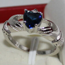 Size 6,7,8,9 Claddagh Womens Heart Sapphire 10KT White Gold Filled Ring