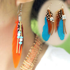 New Bohemian Gypsy Fashion Feather Leather Beads Tassel Charm Dangling Earrings