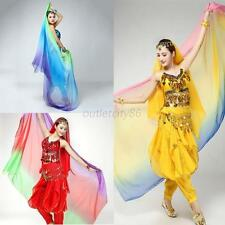 Women's Lady Belly Dancing Veil Gradient Colorful Imitation Silk Soft Shawl Veil
