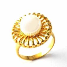 White Mabe Pearl Solitaire Oxidised Ornate Yellow Gold Filled Ring Size 7,8,9#