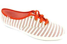 Keds Ch Cabana Stripe Womens Coral Nautical Rubber Sole Lace Up Canvas Shoes New