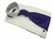 Mens White Formal Rael Brook Victorian Wing Collar Shirt And Ruche Tie Set New