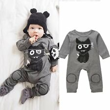 Newborn Baby Kids Boy Unisex Cat Romper Jumpsuit Bodysuit Onesie Clothes Outfits