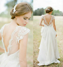 New Beach Wedding Dress Cap Sleeve V Neck Chiffon Pleat Bridal Gowns Custom Made