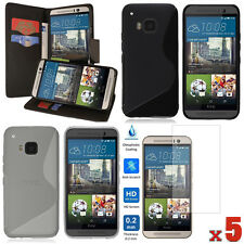 LOT 8 ACCESSORIES Wallet PU Case + TPU Case + Screen Protector For HTC One M9