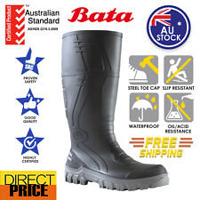 BATA Jobmaster Safety Gumboots Work Black Grey Working 400mm Length Steel Toe