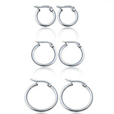 Classic Round Women Hoop Earrings Surgical Stainless Steel Hypoallergenic Silver