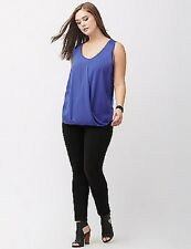 Lane Bryant Blue Chiffon Overlay Surplice Tank ~ Sleeveless Blouse