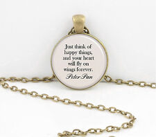 Peter Pan Just Think Happy Thoughts  Pendant Necklace Key Ring