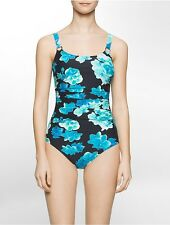 calvin klein womens floral print one-piece swimsuit