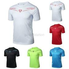 Bodybuilding Men Short Sleeve Sports Athletic Fitted Muscle Base Tee T-Shirt Top