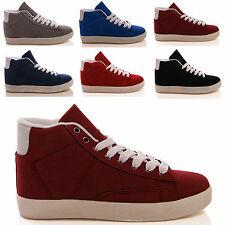 LADIES WOMENS HIGH TOP TRAINERS  PUMPS LACE UP FLAT CASUAL FASHION SHOES SIZE