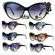 VG Eyewear Womens Rose Rhinestone Jewel Floral Fashion Unique Sunglasses