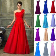 One Shoulder Sexy Ball Bridal Bridesmaid Gowns Prom Wedding  Evening Long Dress