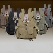Mens Womens Casual Canvas Leather Backpack Rucksack Bookbag Satchel Hiking Bag