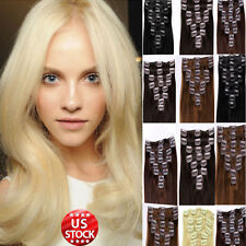 Clip In 100% Real Remy Human Hair Extensions Full Head Straight Blonde Brown A69