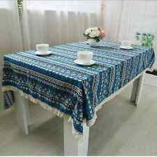 Vintage Ethnic Style Blue Dinning Coffee Table Cotton Linen Cloth Covering L